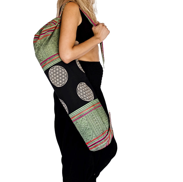 Flower of Life Design Yoga Mat Bag in Tribal Light Green-The High Thai-The High Thai-Yoga Pants-Harem Pants-Hippie Clothing-San Diego