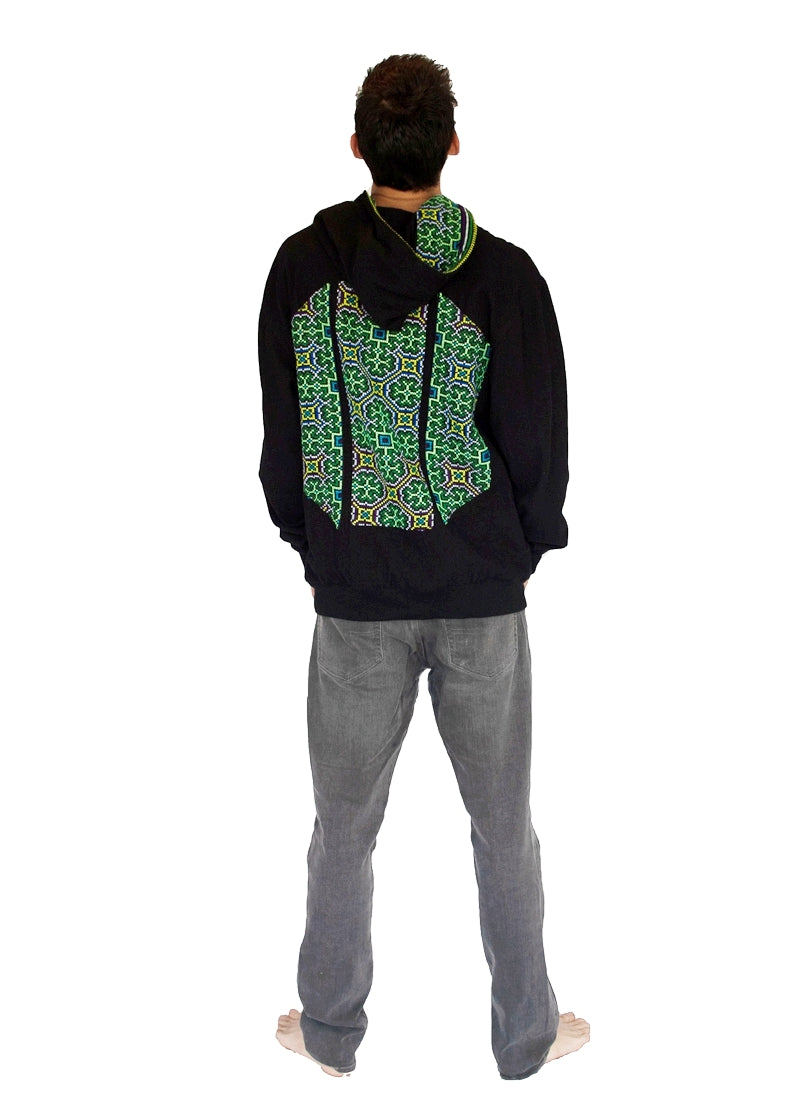 "Reversible ""Black Hmong"" Tribal Hoody -Limited Edition -The High Thai-The High Thai-Yoga Pants-Harem Pants-Hippie Clothing-San Diego"