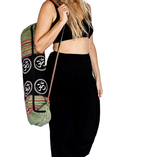 Om Design Yoga Mat Bag in Tribal Light Green-The High Thai-The High Thai-Yoga Pants-Harem Pants-Hippie Clothing-San Diego