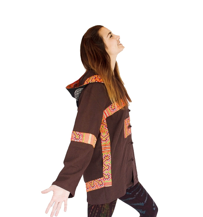 "Tribal Flower of Life Jacket in Brown ""Black Hmong Tribe""-The High Thai-The High Thai-Yoga Pants-Harem Pants-Hippie Clothing-San Diego"