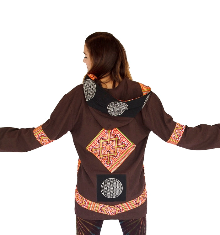 "Flower of Life Jacket in Brown ""Black Hmong Tribe""-The High Thai-The High Thai-Yoga Pants-Harem Pants-Hippie Clothing-San Diego"