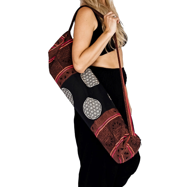Yoga Mat Bag in Tribal Brown Flower of Life Design-The High Thai-The High Thai-Yoga Pants-Harem Pants-Hippie Clothing-San Diego