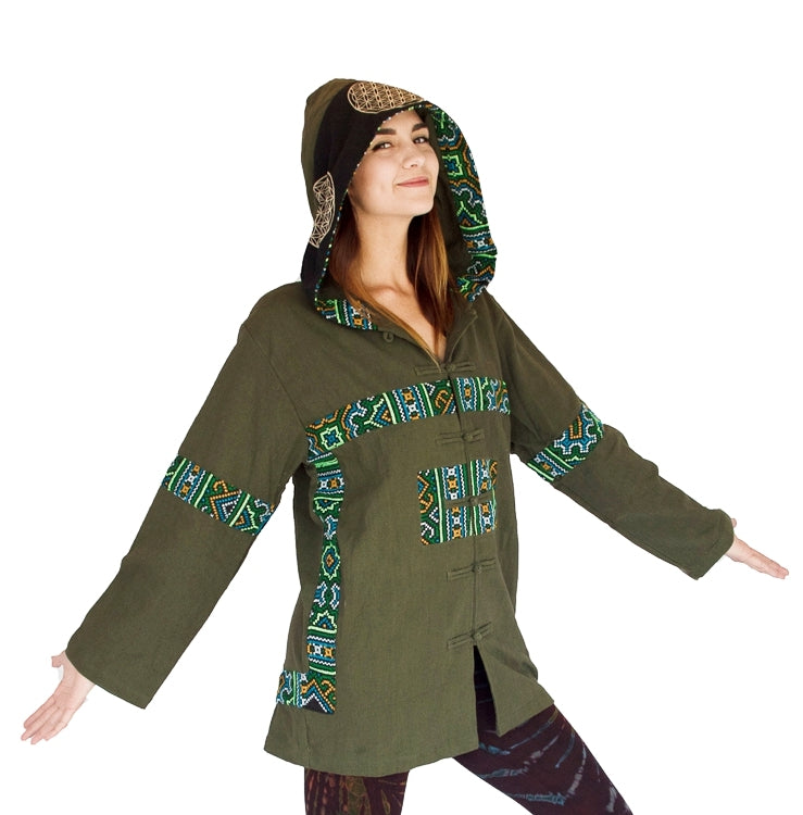 "Flower of Life Jacket in Green ""Black Hmong Tribe""-The High Thai-The High Thai-Yoga Pants-Harem Pants-Hippie Clothing-San Diego"