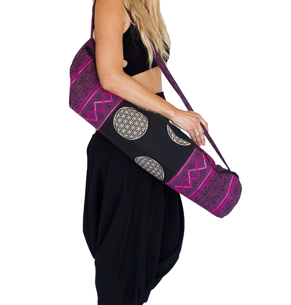 Yoga Mat Bag in Tribal Purple Flower of Life Design-The High Thai-The High Thai-Yoga Pants-Harem Pants-Hippie Clothing-San Diego