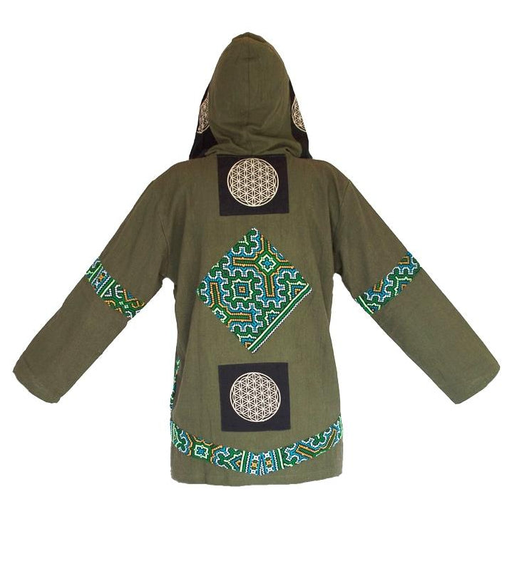 "Triabl Flower of Life Jacket in Green ""Black Hmong Tribe""-The High Thai-The High Thai-Yoga Pants-Harem Pants-Hippie Clothing-San Diego"