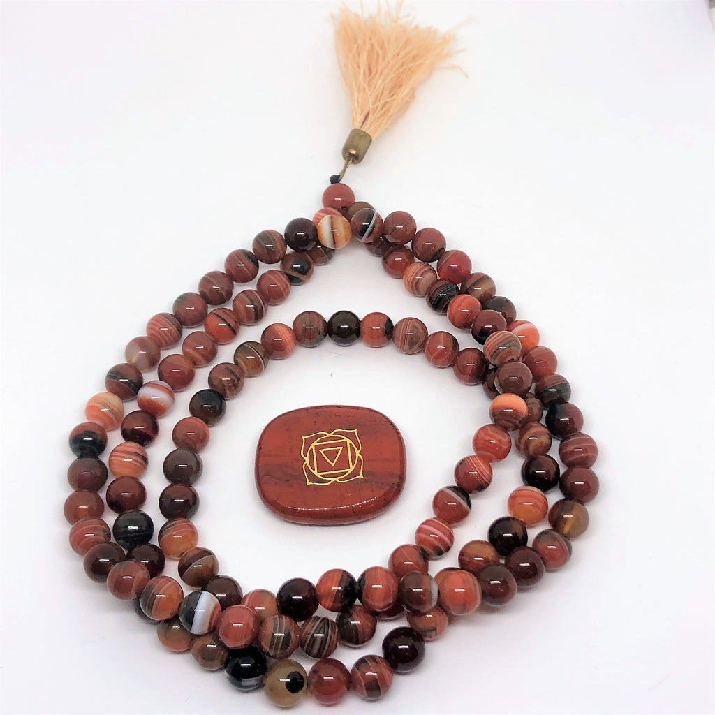 Mala Beads in Agate Orange-The High Thai-The High Thai-Yoga Pants-Harem Pants-Hippie Clothing-San Diego
