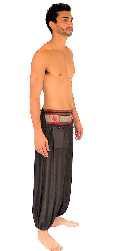 Men's Aladdin Pants in Brown-The High Thai-The High Thai-Yoga Pants-Harem Pants-Hippie Clothing-San Diego