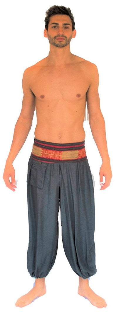 Men's Aladdin Pants in Grey-The High Thai-The High Thai-Yoga Pants-Harem Pants-Hippie Clothing-San Diego
