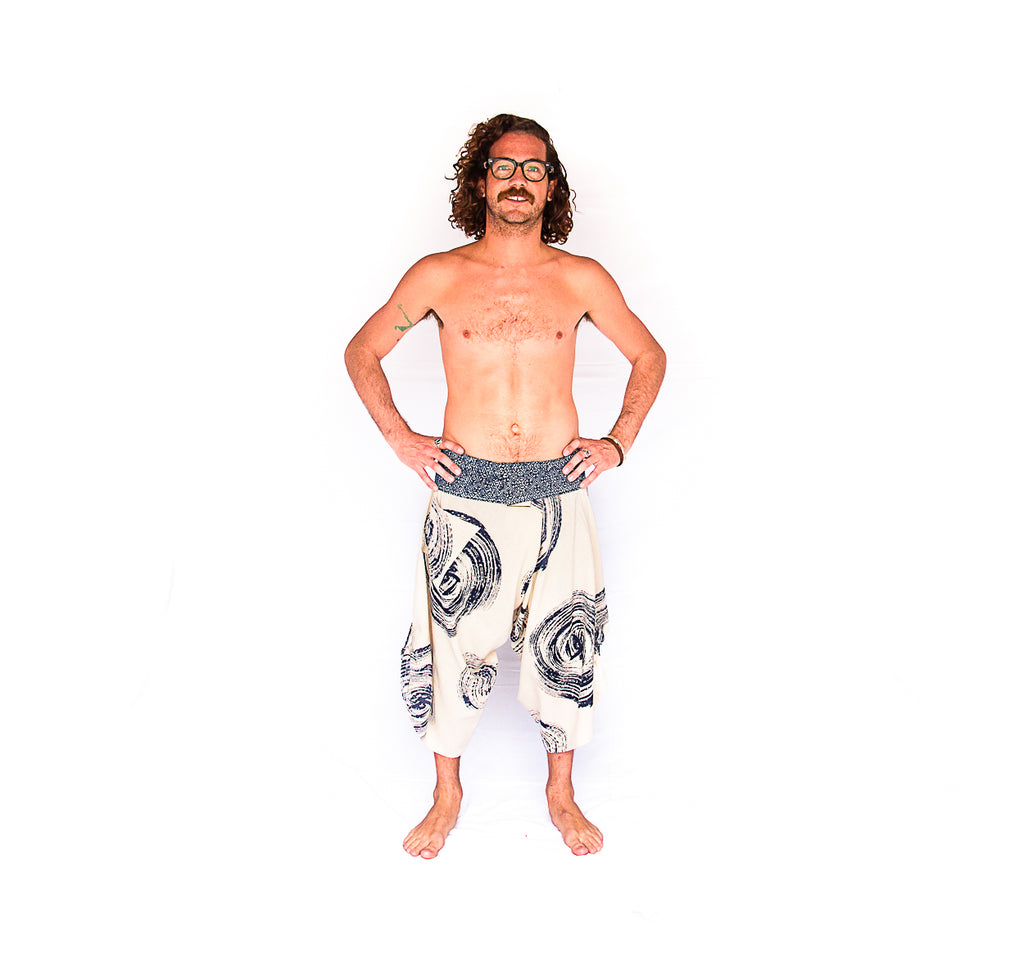 Samurai Fisherman Shorts in Batik Swirl-The High Thai-The High Thai-Yoga Pants-Harem Pants-Hippie Clothing-San Diego