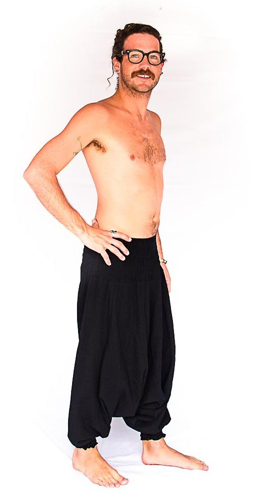 Men's Low Cut Harem Pants in Black