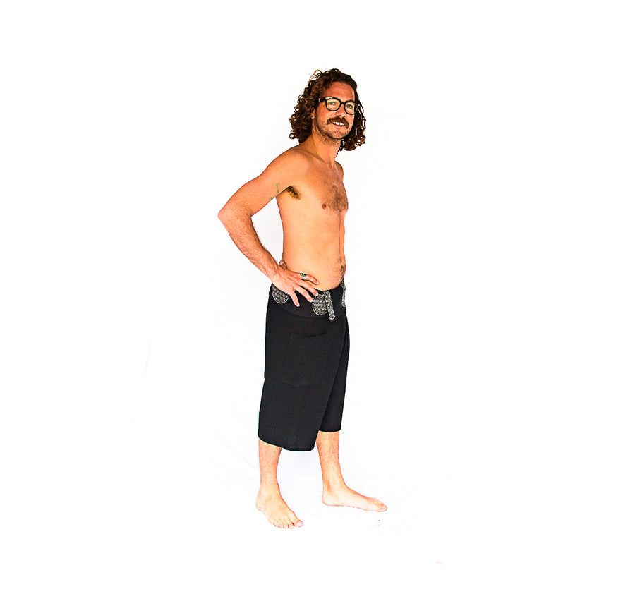 Flower of Life Fisherman Shorts in Black-The High Thai-The High Thai-Yoga Pants-Harem Pants-Hippie Clothing-San Diego
