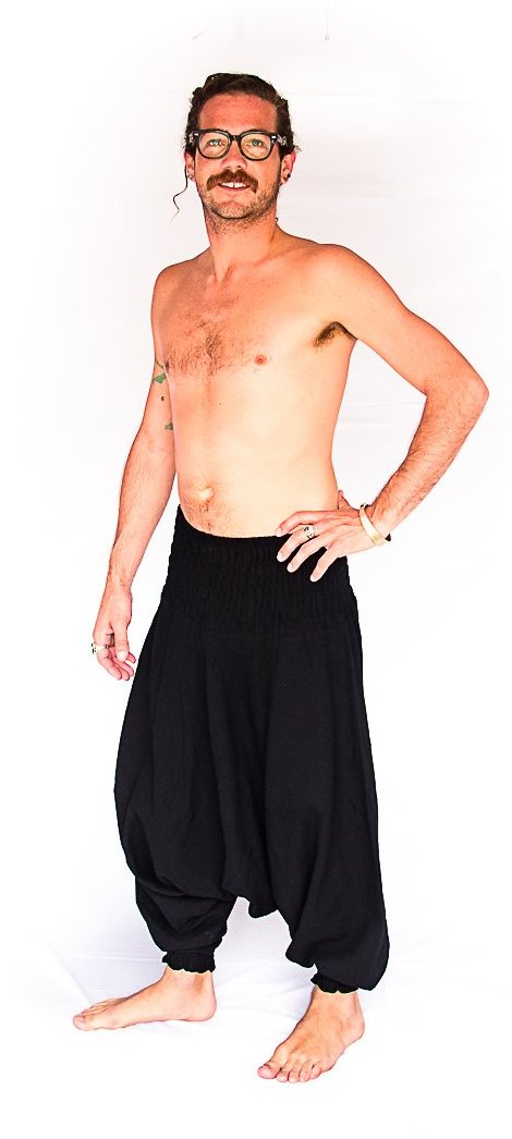 Men's Low Cut Harem Pants in Black-The High Thai-The High Thai-Yoga Pants-Harem Pants-Hippie Clothing-San Diego