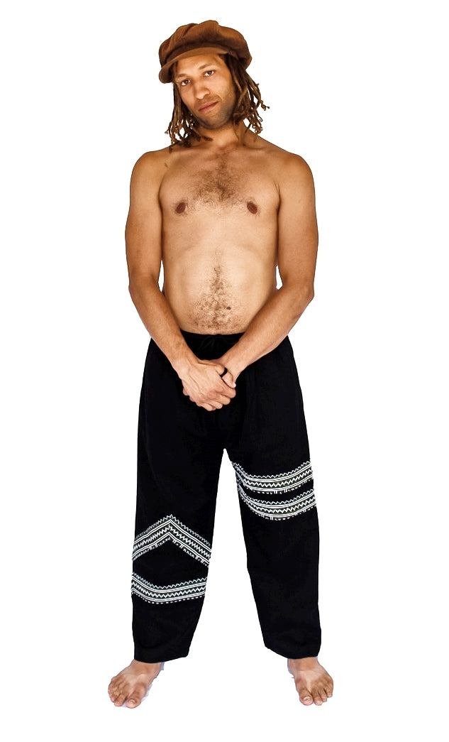 Tribal Sacred Line Hemp Pants Black and White-The High Thai-The High Thai-Yoga Pants-Harem Pants-Hippie Clothing-San Diego