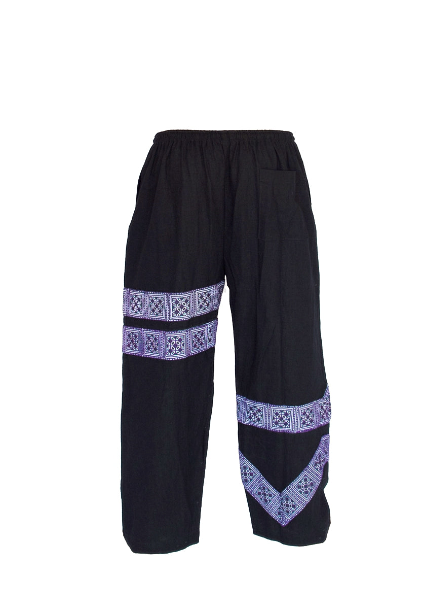 Tribal Sacred Line Hemp Pants Black and Purple-The High Thai-The High Thai-Yoga Pants-Harem Pants-Hippie Clothing-San Diego