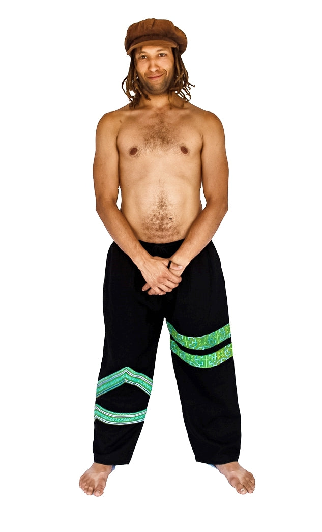 Tribal Sacred Line Hemp Pants Black and Green-The High Thai-The High Thai-Yoga Pants-Harem Pants-Hippie Clothing-San Diego