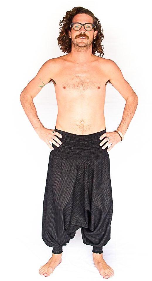 Men's Low Cut Harem Pants in Black Static-The High Thai-The High Thai-Yoga Pants-Harem Pants-Hippie Clothing-San Diego
