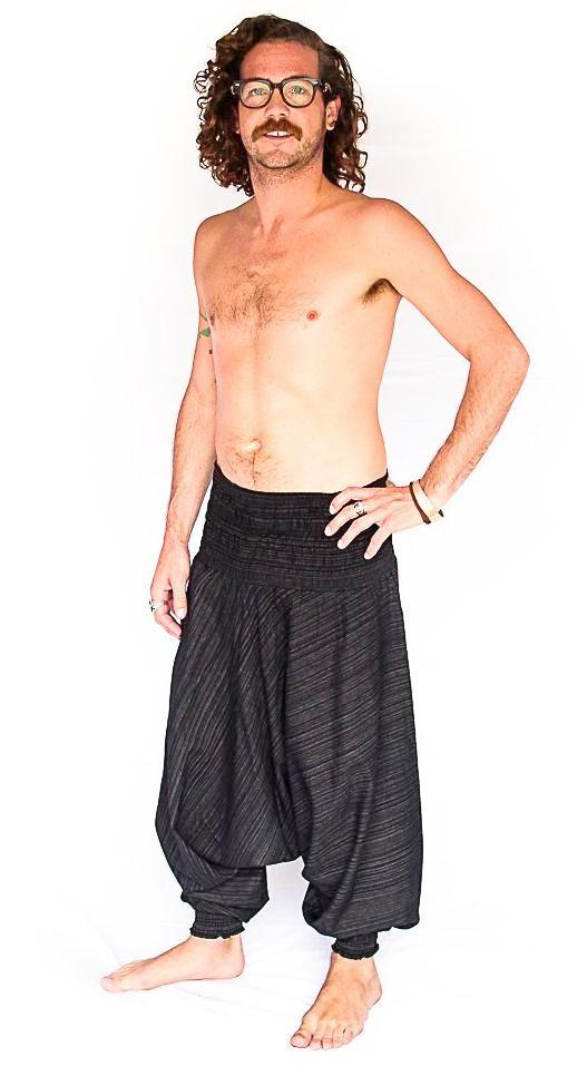 Men's Low Cut Harem Pants in Black Static