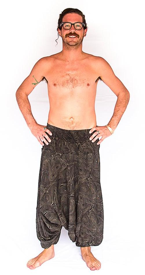 Men's Low Cut Harem Pants in Black Swirl