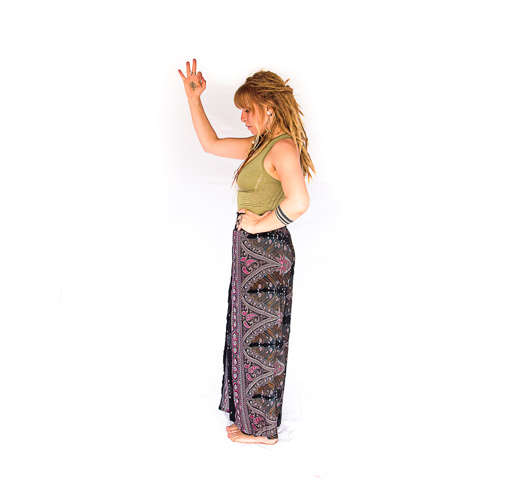 Open Leg Feather Pants in Black & Red-The High Thai-The High Thai-Yoga Pants-Harem Pants-Hippie Clothing-San Diego