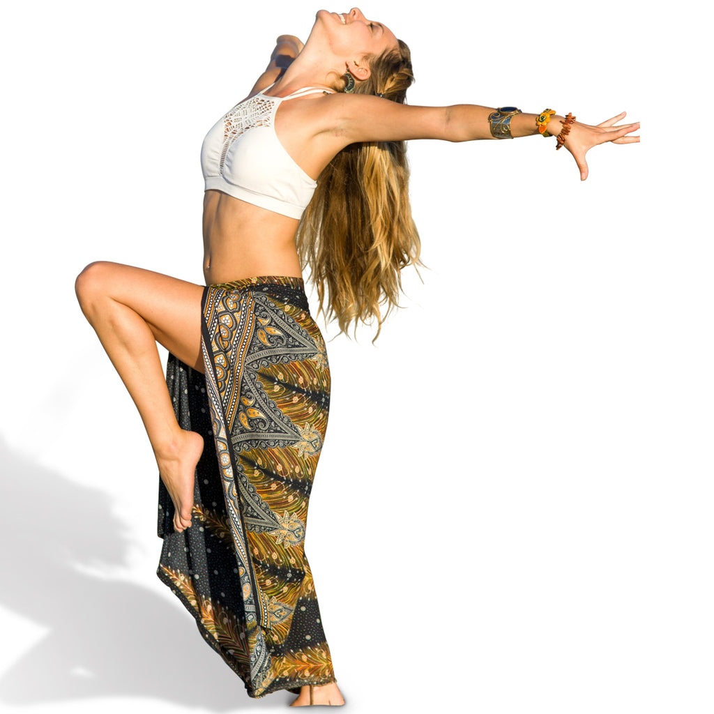 Black and Gold Feather Design Open Leg Pants-The High Thai-The High Thai-Yoga Pants-Harem Pants-Hippie Clothing-San Diego