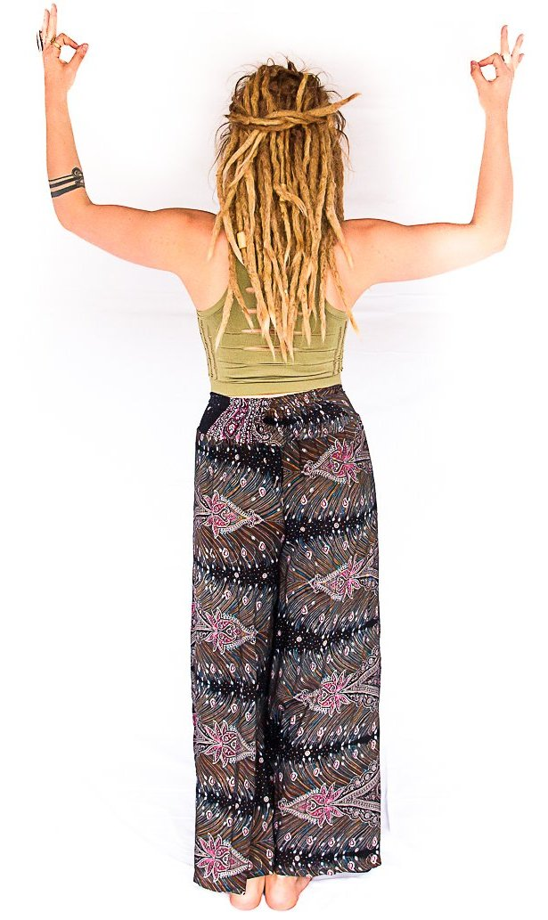 Feather Design Open Leg Pants in Black & Red-The High Thai-The High Thai-Yoga Pants-Harem Pants-Hippie Clothing-San Diego