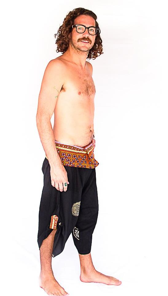 Samurai Fisherman Shorts in Black Splash-The High Thai-The High Thai-Yoga Pants-Harem Pants-Hippie Clothing-San Diego