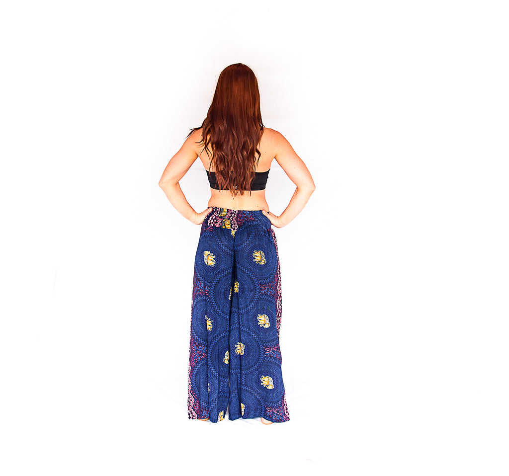 Elephant Design Open Leg Pants in Blue-The High Thai-The High Thai-Yoga Pants-Harem Pants-Hippie Clothing-San Diego