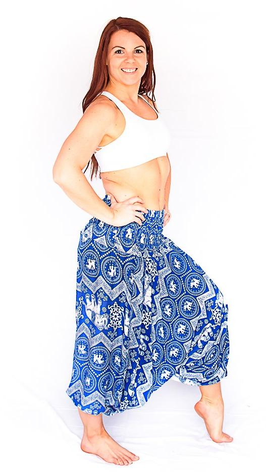 One Piece Jumper Pants in Blue Elephant Print-The High Thai-The High Thai-Yoga Pants-Harem Pants-Hippie Clothing-San Diego