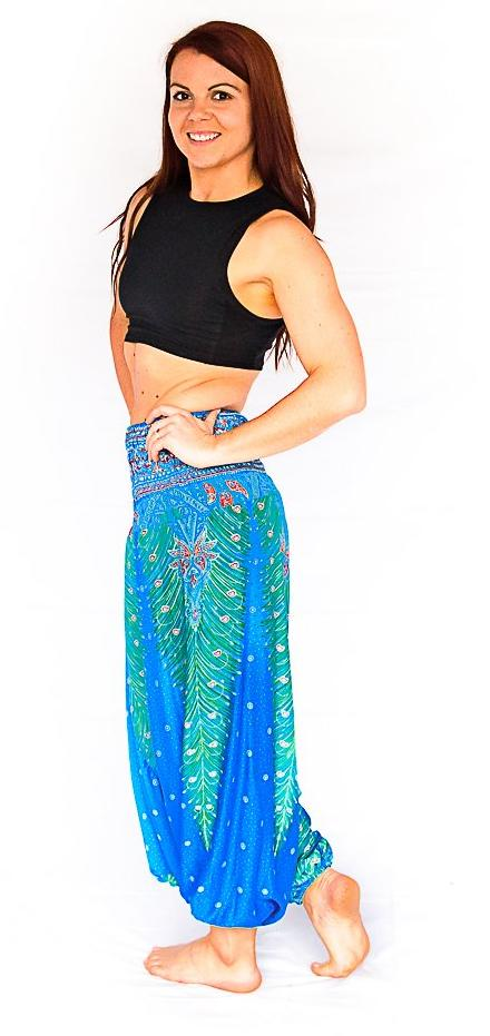 One Piece Jumper Pants in Blue Feather-The High Thai-The High Thai-Yoga Pants-Harem Pants-Hippie Clothing-San Diego