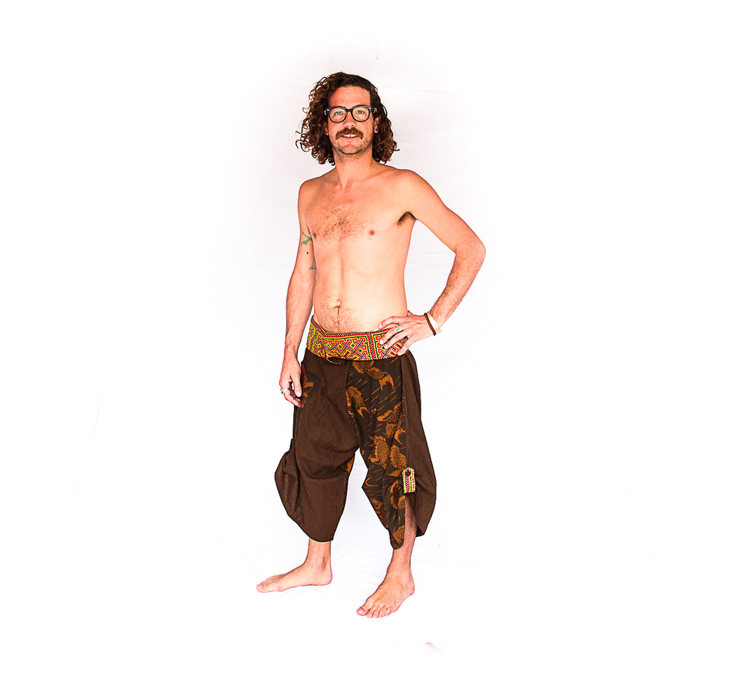 Samurai Fisherman Shorts in Brown Coy-The High Thai-The High Thai-Yoga Pants-Harem Pants-Hippie Clothing-San Diego