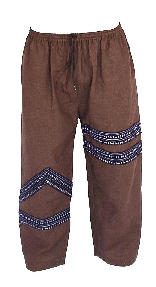 Tribal Sacred Line Hemp Pants Brown-The High Thai-The High Thai-Yoga Pants-Harem Pants-Hippie Clothing-San Diego