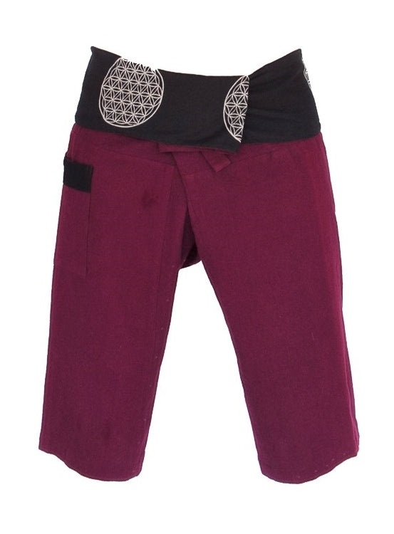 Flower of Life Fisherman Shorts in Red-The High Thai-The High Thai-Yoga Pants-Harem Pants-Hippie Clothing-San Diego