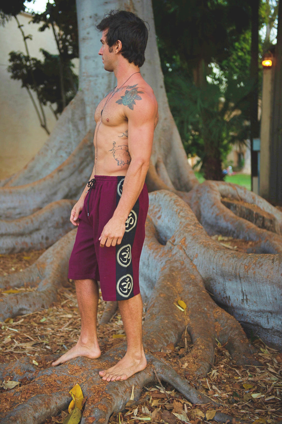 Om Lounge Shorts in Red-The High Thai-The High Thai-Yoga Pants-Harem Pants-Hippie Clothing-San Diego