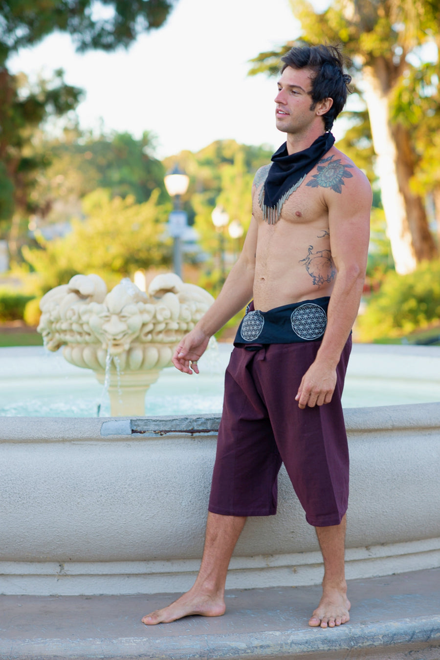 Flower of Life Fisherman Shorts in Brown-The High Thai-The High Thai-Yoga Pants-Harem Pants-Hippie Clothing-San Diego