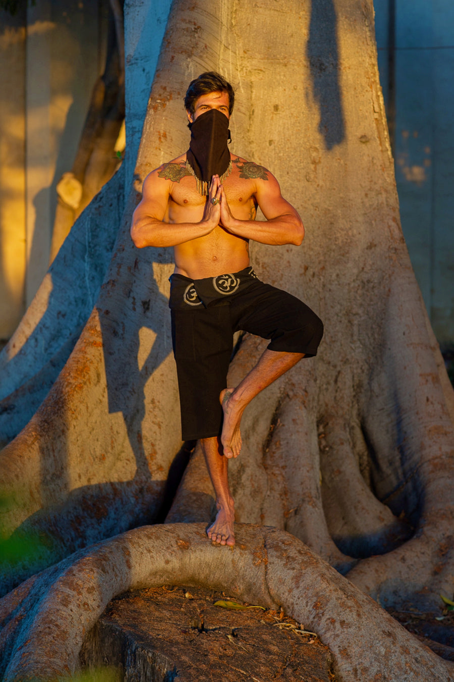 Om Fisherman Shorts in Black-The High Thai-The High Thai-Yoga Pants-Harem Pants-Hippie Clothing-San Diego