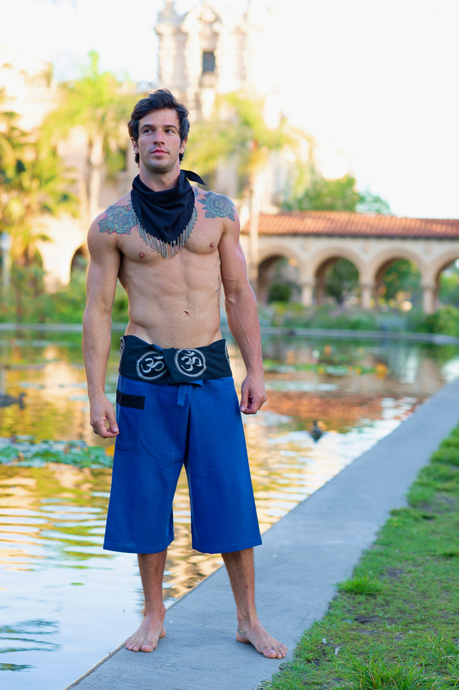 Om Fisherman Shorts in Blue-The High Thai-The High Thai-Yoga Pants-Harem Pants-Hippie Clothing-San Diego