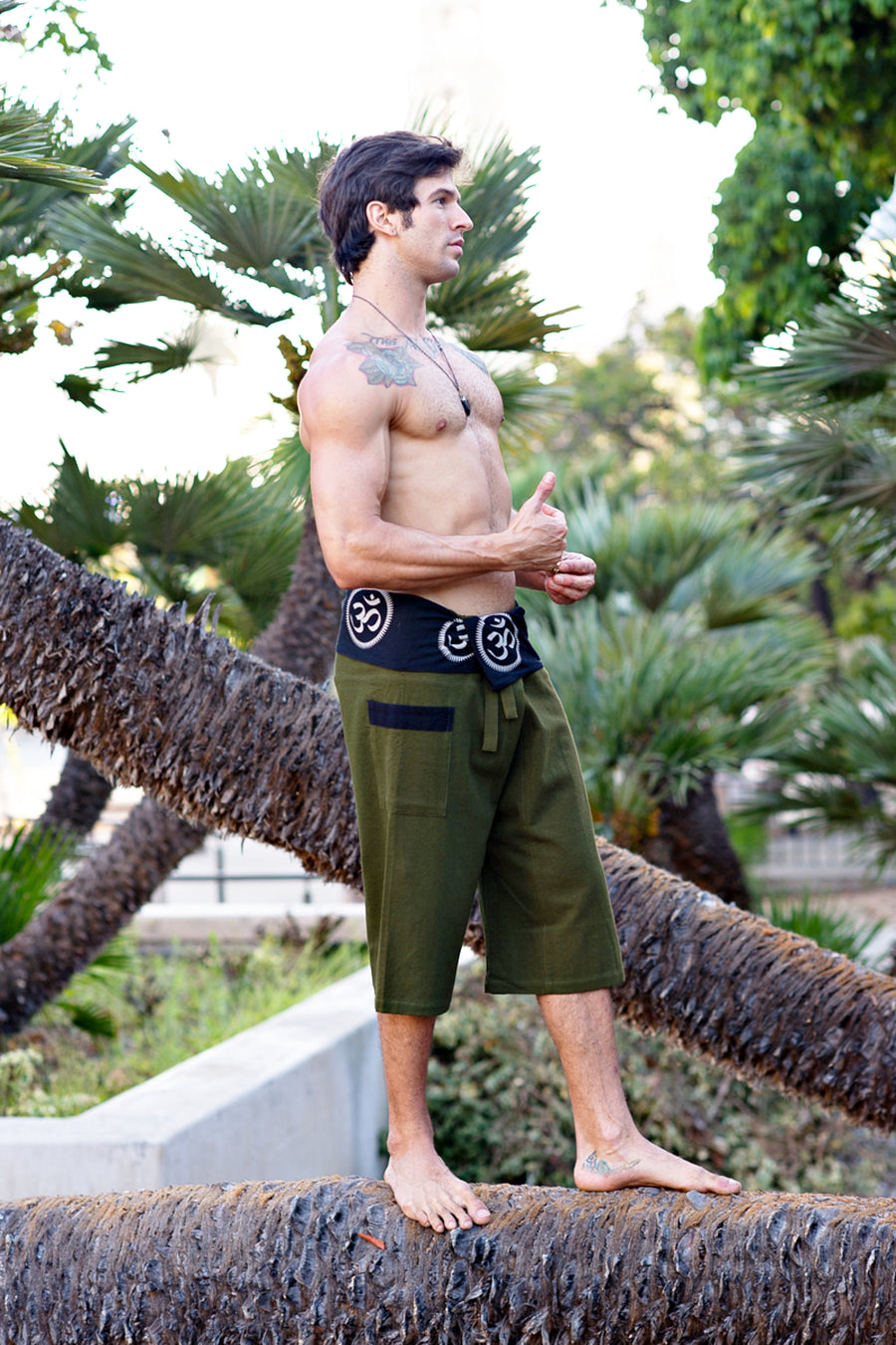 Om Fisherman Shorts in Green-The High Thai-The High Thai-Yoga Pants-Harem Pants-Hippie Clothing-San Diego