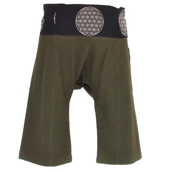 Flower of Life Fisherman Shorts in Green-The High Thai-The High Thai-Yoga Pants-Harem Pants-Hippie Clothing-San Diego