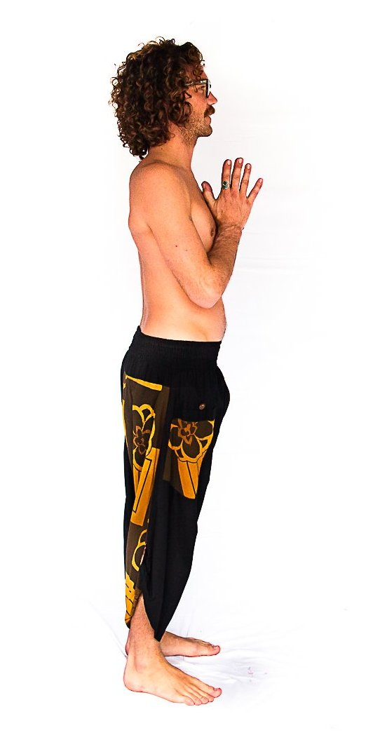 Samurai Elastic Shorts in Floral Tan-The High Thai-The High Thai-Yoga Pants-Harem Pants-Hippie Clothing-San Diego
