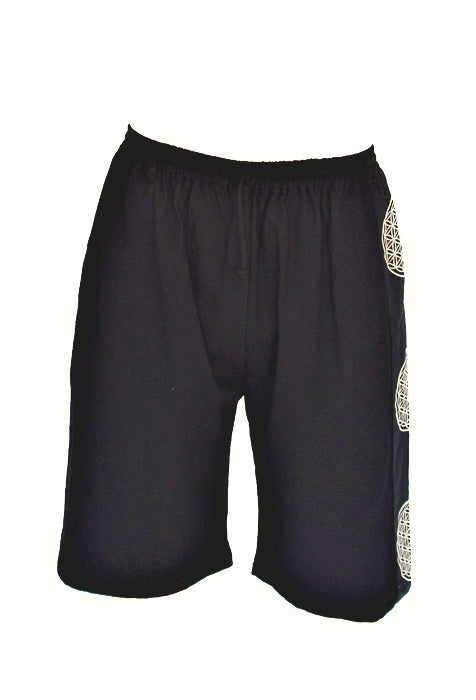 Flower of Life Lounge Shorts in Black-The High Thai-The High Thai-Yoga Pants-Harem Pants-Hippie Clothing-San Diego