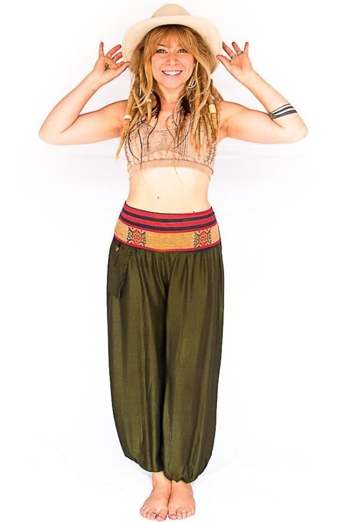 Aladdin Pants in Forest Green-The High Thai-The High Thai-Yoga Pants-Harem Pants-Hippie Clothing-San Diego