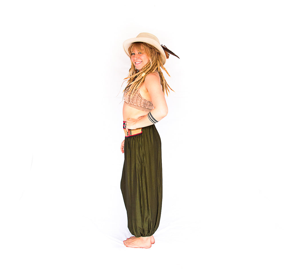 Women's Aladdin Pants in Forest Green-The High Thai-The High Thai-Yoga Pants-Harem Pants-Hippie Clothing-San Diego