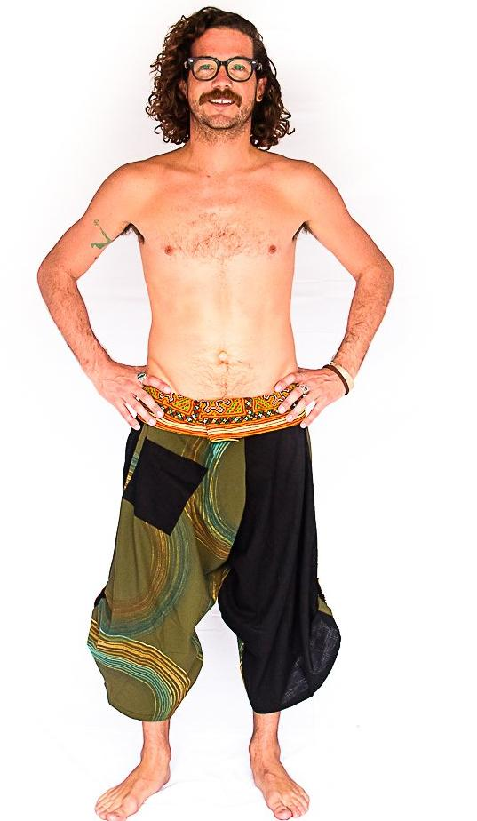 Samurai Fisherman Shorts in Forest Swirl-The High Thai-The High Thai-Yoga Pants-Harem Pants-Hippie Clothing-San Diego