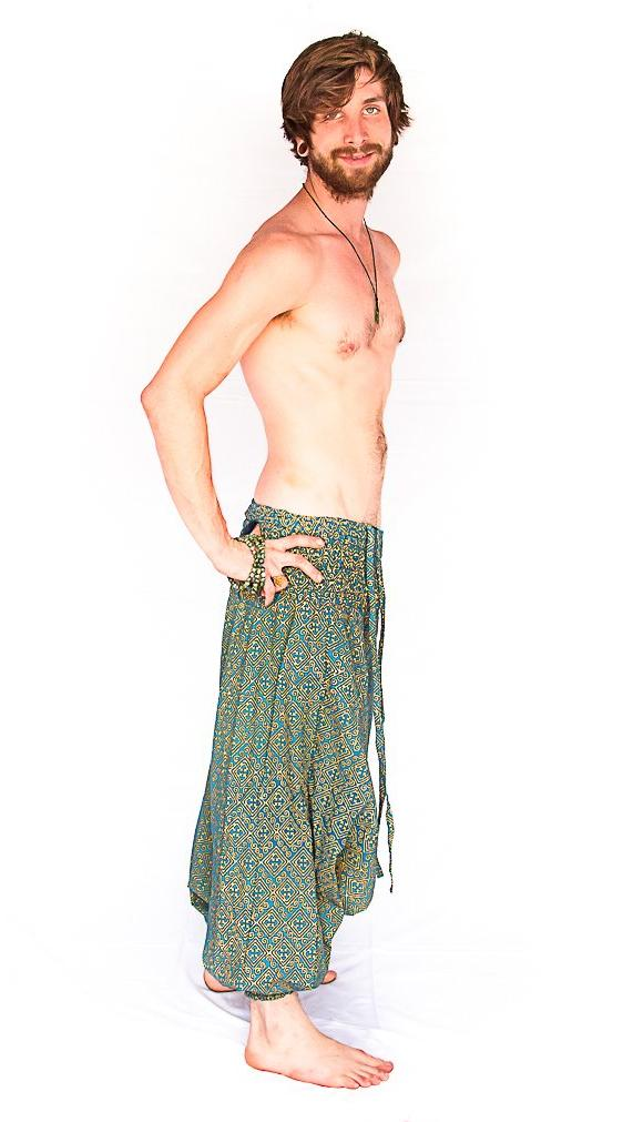 Men's Low Cut Harem Pants in Gold and Turquoise