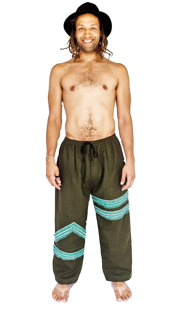 Tribal Sacred Line Hemp Pants Green-The High Thai-The High Thai-Yoga Pants-Harem Pants-Hippie Clothing-San Diego