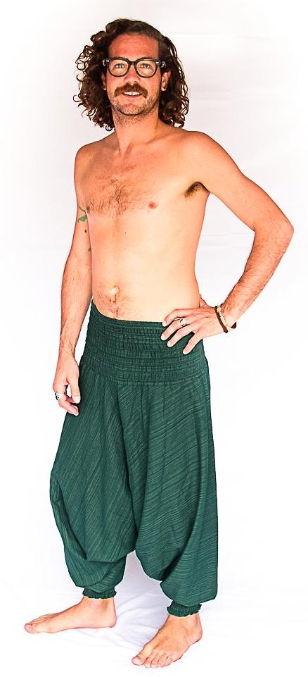 Men's Low Cut Harem Pants in Green Static-The High Thai-The High Thai-Yoga Pants-Harem Pants-Hippie Clothing-San Diego