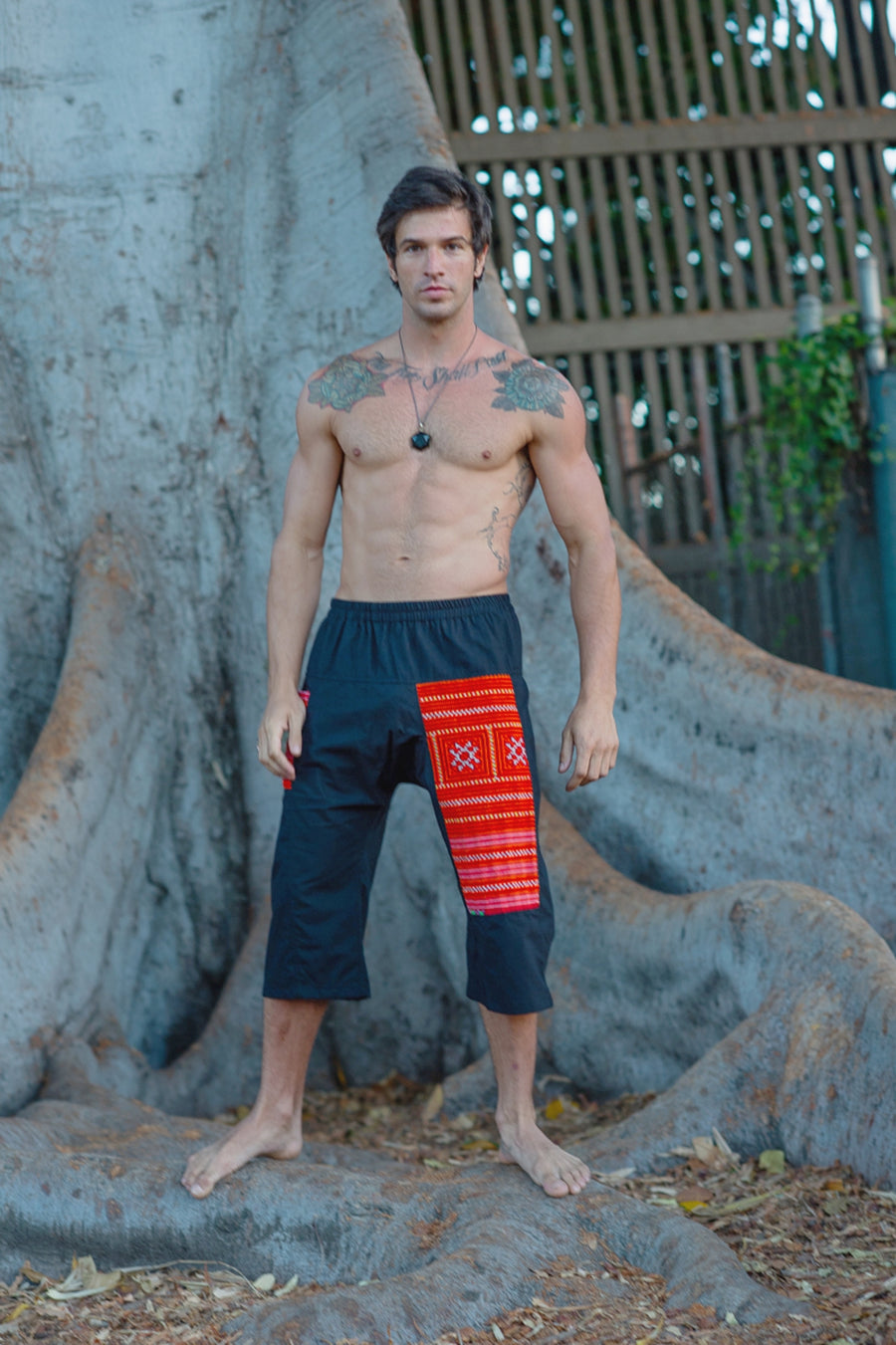 Upcycled Tribal Fabric Shorts in Black-The High Thai-The High Thai-Yoga Pants-Harem Pants-Hippie Clothing-San Diego