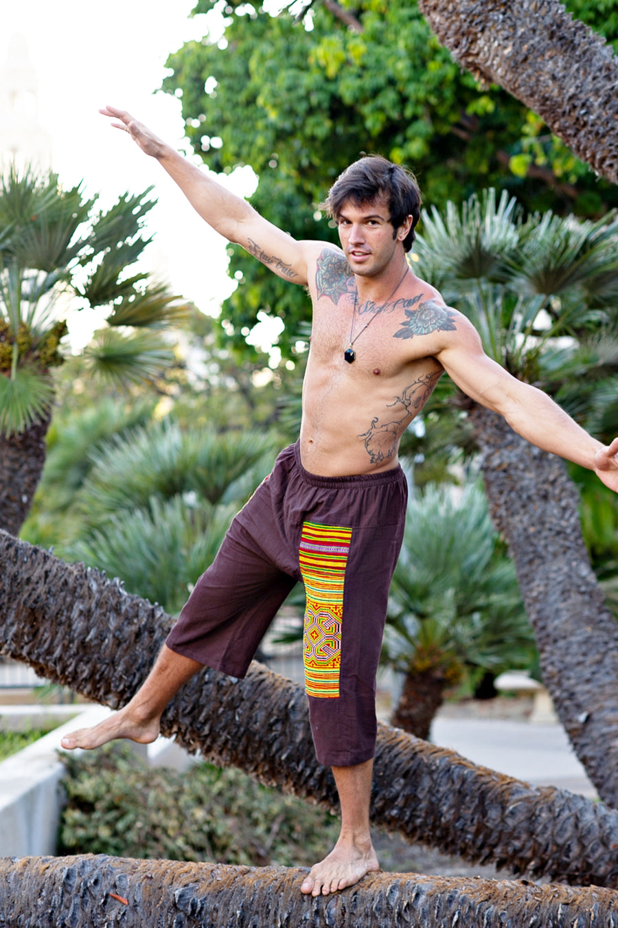 Upcycled Tribal Fabric Shorts in Brown-The High Thai-The High Thai-Yoga Pants-Harem Pants-Hippie Clothing-San Diego