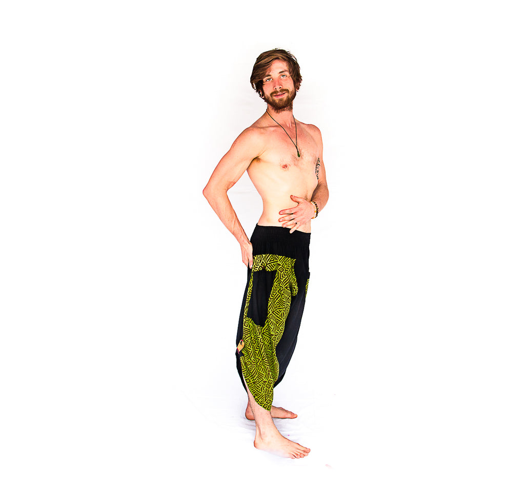 Samurai Elastic Shorts in Lime Light-The High Thai-The High Thai-Yoga Pants-Harem Pants-Hippie Clothing-San Diego