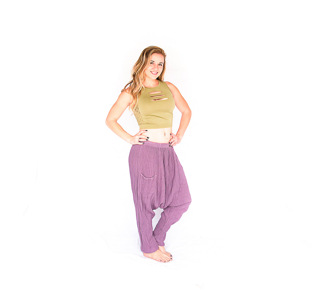 Mid Cut Harem Pants in Lavender-The High Thai-The High Thai-Yoga Pants-Harem Pants-Hippie Clothing-San Diego